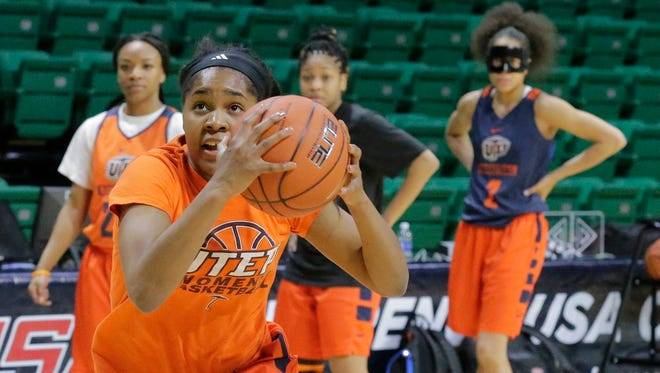 UTEP junior guard Sparkle Taylor drives to the basket during a practice last season at Bartow Arena in Birmingham, Ala. She is taking a leadership role this season.