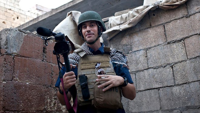 James Foley covering the civil war in Aleppo, Syria, in 2012.