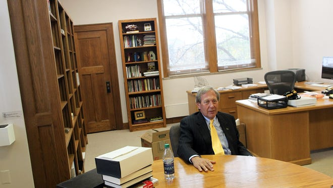 University of Iowa President Bruce Harreld answers questions during an interview with the Press-Citizen at Jessup Hall on Friday, Oct. 30, 2015.