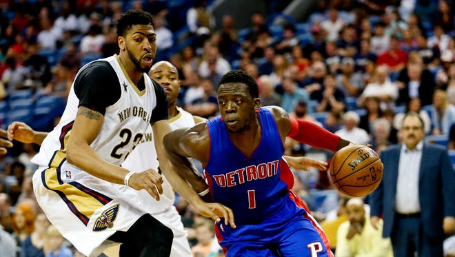 Mar 1, 2017; New Orleans, LA, USA; Detroit Pistons guard Reggie Jackson drives past New Orleans Pelicans forward Anthony Davis during the second quarter at the Smoothie King Center.