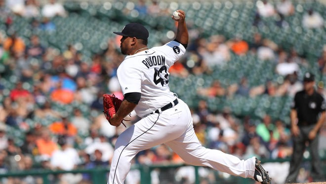 Bruce Rondon pitches against the Pirates in the ninth inning of the Tigers' 7-5 loss Thursday, Aug. 10, 2017 at Comerica Park.