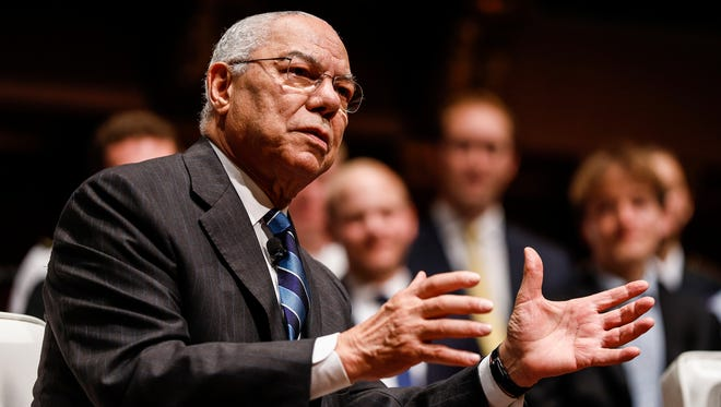 Former U.S. Secretary of State, General Colin Powell on stage during the James R. Mellor Lecture at Hill Auditorium on U-M campus in Ann Arbor, Tuesday, September 19, 2017.