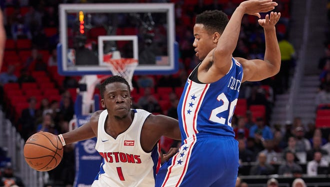 Reggie Jackson had  16 points and seven assists in the Pistons 97-86 loss to the 76ers on Monday night at Little Caesars Arena.