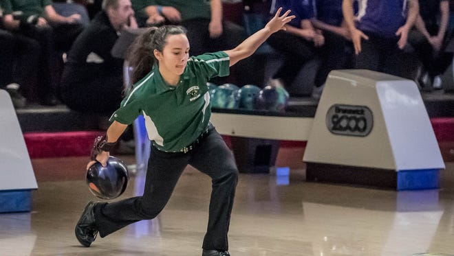 Pennfield's Haley Hopper during the All-City Bowling meet between Pennfield and Lakewview on Thursday.