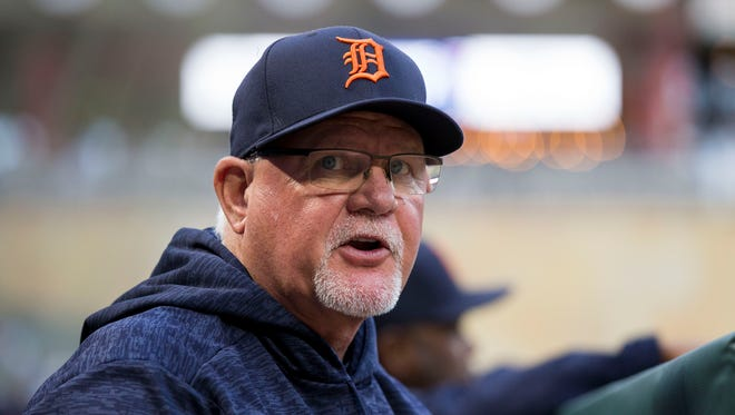 May 21, 2018; Minneapolis, MN, USA; Detroit Tigers manager Ron Gardenhire in the dugout in the third inning against Minnesota Twins at Target Field.
