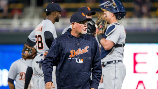 May 21, 2018; Minneapolis, MN, USA; Detroit Tigers manager Ron Gardenhire walks back to the dugout in the eighth inning against the Minnesota Twins at Target Field.