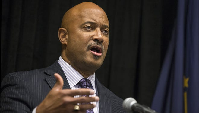 Indiana Attorney General Curtis Hill takes questions from the media at the 8th annual prescription drug abuse and heroin symposium, held by the office of the Indiana Attorney General at the Sheraton Hotel, Indianapolis, Monday, Oct. 30, 2017.