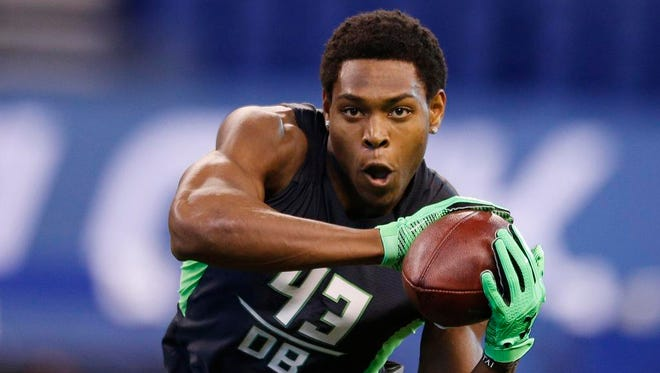 Florida State defensive back Jalen Ramsey catches a pass during the NFL scouting combine on Feb. 28 in Indianapolis.