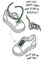 Turn lace-up shoes into slip-ons by replacing shoelaces