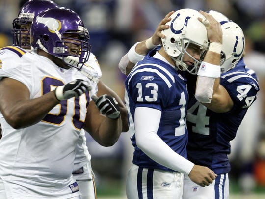 Colts kicker Mike Vanderjagt is congratulated by Dallas