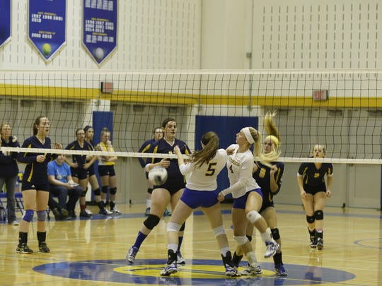 A ball drops in front of Trumansburg senior Katelyn Artibee (5) on Tuesday against Harpursville.