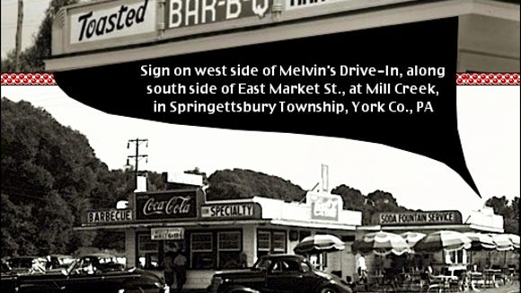 East Market Street view of Melvin's Drive-In, highlighting location of sign on west side, and at rear, of drive-in. (Submitted by Kit Lentz; photos combined by S. H. Smith)