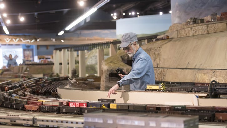 Pat Nagy is among 10 volunteers who constantly tweak, repair and expand the Chi-Town track, which claims to be America's largest O-scale model railroad. O-scale trains are built at a dependably accurate ratio of 1 model inch to 48 real inches.