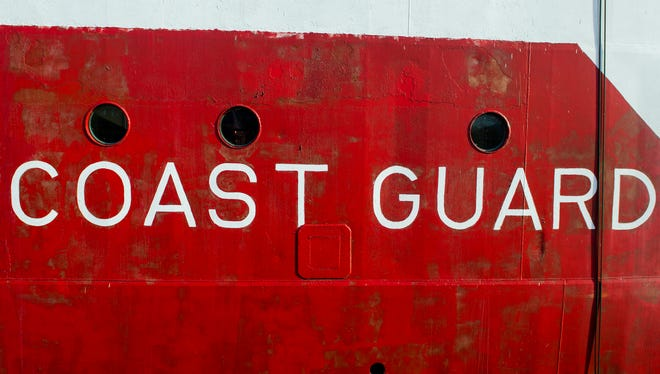 Detail of the hull of a Coast Guard boat in Kingston, Ontario.