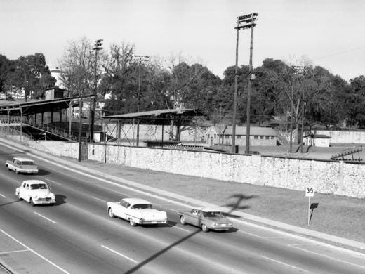 A view of Centennial Field across south Monroe Street. The first Leon High football teams played here from 1924 until Capital Stadium was built in 1961. It is now Cascades Park.