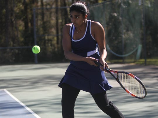 Rickards' Charitha Moparthy plays at the 2018 tennis