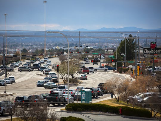 Traffic builds on Lohman Avenue on Thursday afternoon.