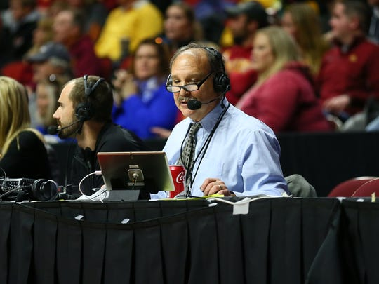 Drake men's basketball broadcaster Larry Cotlar works a game against Iowa State at Wells Fargo Arena in Des Moines. Cotlar died when he was swept away by floodwaters Saturday, June 30, 2018.