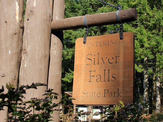 The entrance to Silver Falls State Park east of Salem. The park, home to famous waterfalls, was established in 1933.