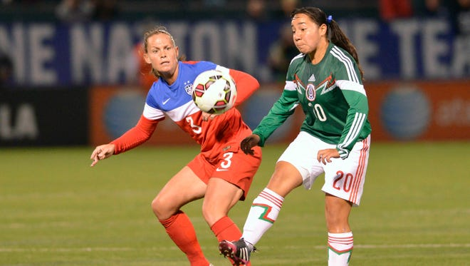 In a file photo from Sep 18, 2014, Mexico forward Charlyn Corral (20) gains control of the ball with Christie Rampone (3) defending during the first half of a game at Sahlen's Stadium.