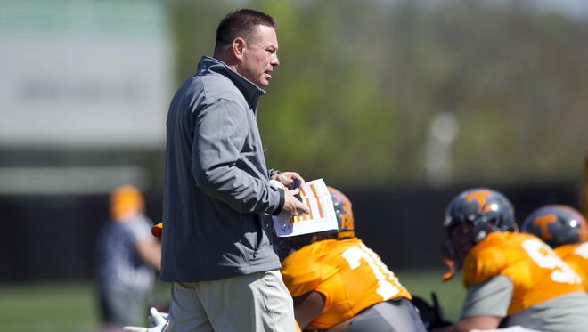Tennessee coach Butch Jones during practice on Tuesday.
