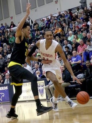 Princeton's Darius Bazley drives to the basket during the Vikings' game at the Flyin' to the Hoop Tournament, Monday, Jan. 16, 2017.