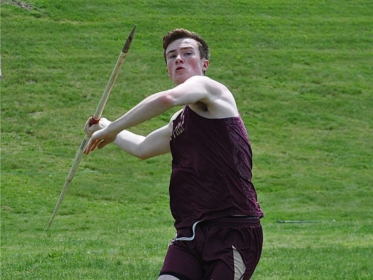 Iona Prep's Rob Greer prepares to throw the javelin