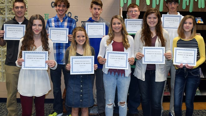 The Harper Creek High School Students of the Month for October 2016:Front row, from left: Alara Longnecker, English; Elizabeth Sult, Spanish; Adaline Rocco, Spanish; Grace Weller, Spanish; Abby Williams, Family and Consumer Science.Back row, from left: John Nickolaou, Math & Science Center - Science; Matt Davis, Math & Science Center Science - Math; Dakota Barnes, Art; Zach Thompson, Technology; Brandon Juliano, Physical Education.Not pictured are Jacob Bregg, Science; Thomas Pazik, Psychology; and Abbey Barber, Calhoun Area Career Center - Culinary Arts.