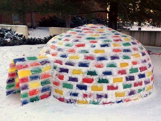 St. John's University freshman Mitch Fritz's igloo