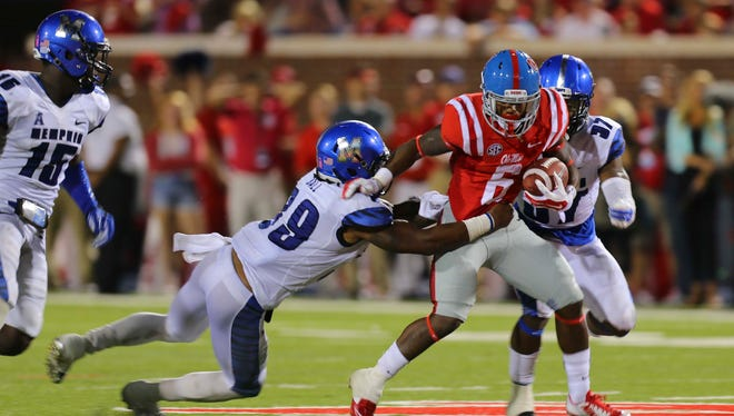 Ole Miss running back Jaylen Walton (pictured) and 10 other Rebels return home to the Memphis area with Saturday's game.