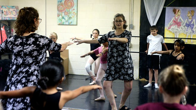 Home-schooler Emma Armstrong, a ballet instructor at the San Angelo Broadway Academy, teaches ballet class to young children Wednesday, May 16, 2018.