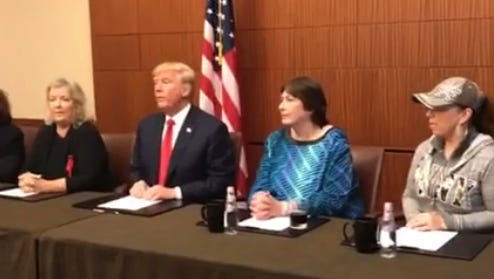 Donald Trump hosts a press conference with women who have allegedly accused Bill Clinton of assault and sexual advances.