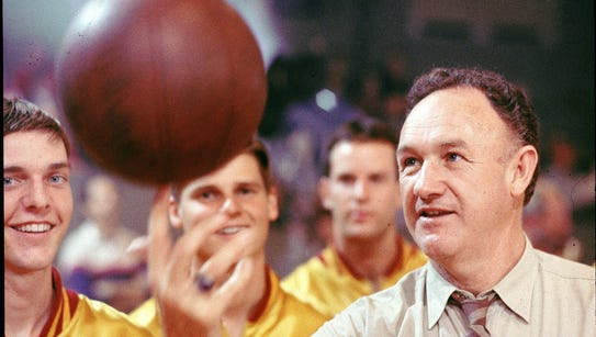 "Gene Hackman stars in the movie ""Hoosiers."""