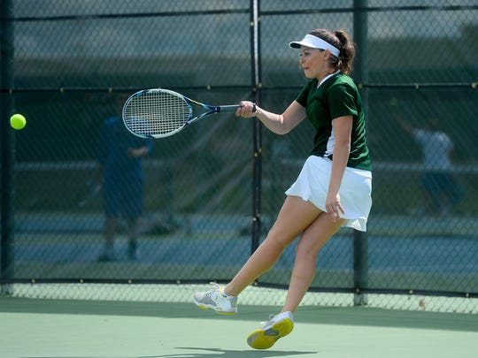 CMR's Mackenzie George finished fourth at the State AA tennis meet in Kalispell in 2017.