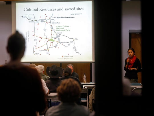 Colleen Cooley, an outreach organizer for Diné CARE, gives a presentation on April 17 during a forum on methane at San Juan College in Farmington.