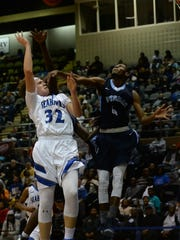 Stephen Decatur's Churchill Bounds with the shot against Potomac Senior High on Thursday, Dec. 29, 2016. during the Governor's Challenge at the Wicomico Youth and Civic Center in Salisbury, Md.