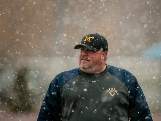Algonac coach Jeff Smith watches from the sideline during a Division 5 semifinal football game Saturday, Nov. 19, 2016 at Harper Creek High School in Battle Creek.