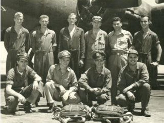 The B-17 crew. Standing, from left: H.C. Johnson, George Watt, Albertus Harrenstein, Leslie Meadedr, Joseph Sage and John Craig. Kneeling, from left: William Bramwell, William Current, Leland Smith and John Maiorca.