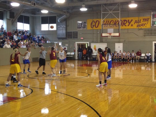 Hickory and Terhune tip off at the Hoosier Gym in Knightstown for the annual Hoosiers Reunion All-Star Classic, June 1 , 2012.