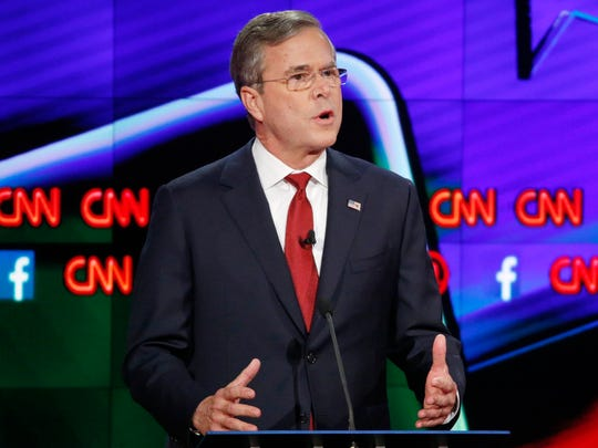Jeb Bush speaks during the Republican presidential