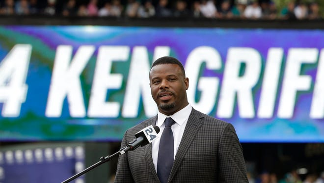 Ken Griffey Jr. speaks during a ceremony to retire his number 24, Saturday, Aug. 6, 2016, in Seattle.