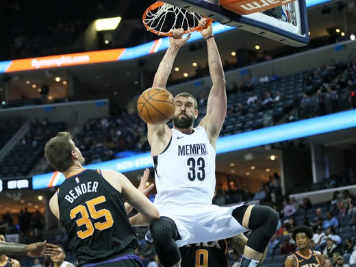 Feb 28, 2018; Memphis, TN, USA; Memphis Grizzlies center
