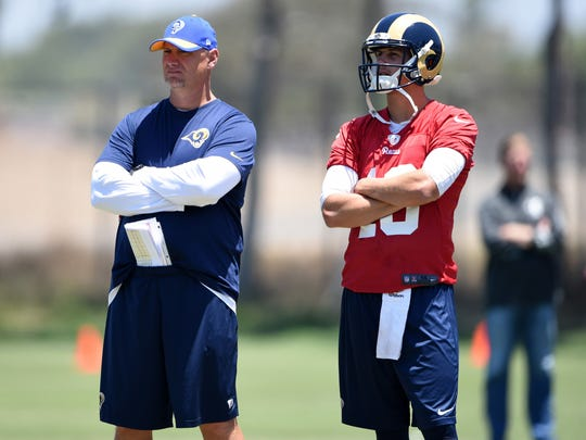 Kirby Lee/USA TODAY Sports Alabama offensive analyst Chris Weinke was recently the quarterbacks coach for the Los Angeles Rams. Jun 16, 2016; Oxnard, CA, USA; Los Angeles Rams quarterbacks coach Chris Weinke (left) and quarterback Jared Goff (16) at organized team activities at the River Ridge Fields. Mandatory Credit: Kirby Lee-USA TODAY Sports