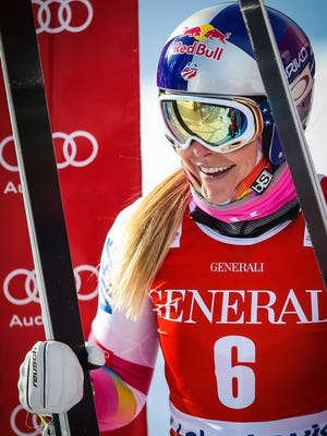 Lindsey Vonn (USA) after her run during training for the women's downhill at Lake Louise Ski Resort on Tuesday.