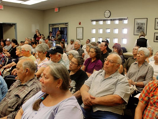 Residents gathered to listen to the Tularosa Basin Downwinders speak about health repercussions after the Trinity atomic bomb test.