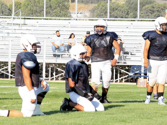 Danny Udero/Sun-News   Silver's defensive line is going to be a staple early on in stopping the run and forcing teams into long situations.