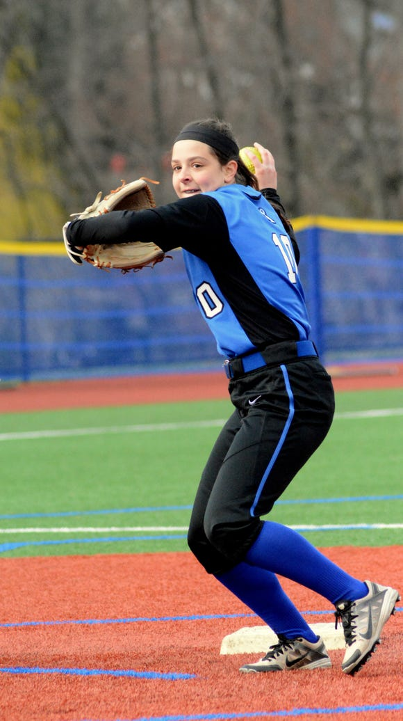 Holy Angels junior SS Brianna Gangl made one of the