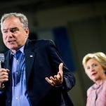Tim Kaine and Hillary Clinton at a rally in Annandale, Va., July 14, 2016.