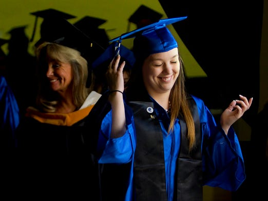 "Kaci Leigh Ross was among the 334 Ida S. Baker High School seniors who graduated Saturday at the school's commencement at Alico Arena. ""I made it,"" said Ross of her achievement."