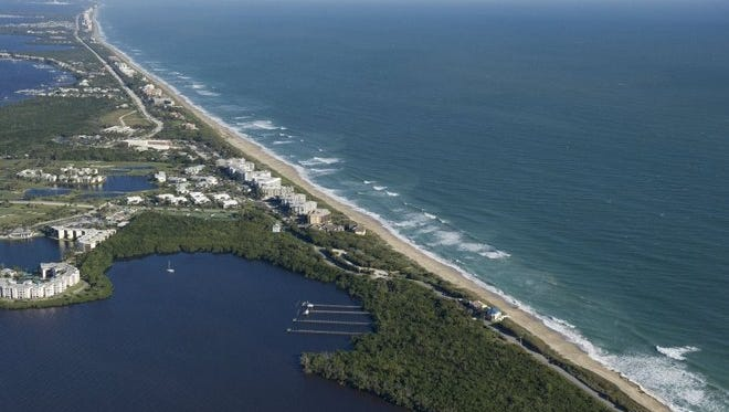 Aerial view of Hutchinson Island and Martin and St. Lucie counties beaches near Stuart.